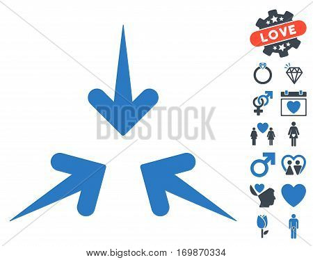 Impact Arrows icon with bonus lovely pictograph collection. Vector illustration style is flat rounded iconic smooth blue symbols on white background.