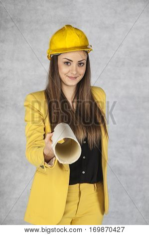 Young beautiful business woman, wearing a suit to work