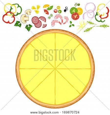 Basis for the pizza and different ingredients on a white background.