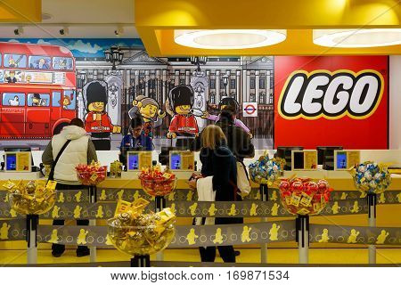Customers In Lego Store In London