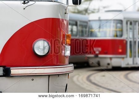 Red tramway on the street. Trams in Prague.