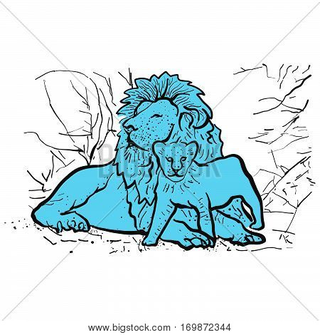 Old lion and young lion in front of shrubs hand-drawn Vector Clipart