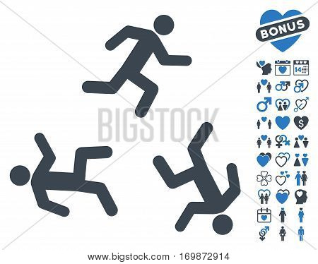 Running Men icon with bonus valentine clip art. Vector illustration style is flat rounded iconic smooth blue symbols on white background.
