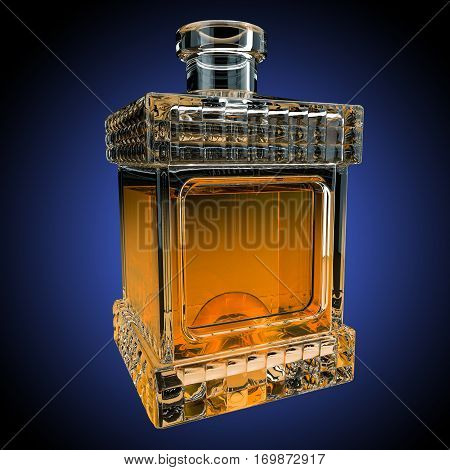 Decanter with whiskey on gradient background. 3D render