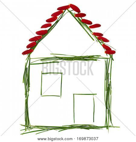 Grass house made by a child isolated on white background for environmental conservation concept.