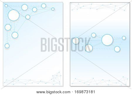 Abstract brochure cover design. Modern vector front page. Front and back dynamic flyer template design. Blue circles in network