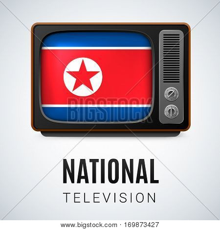 Vintage TV and Flag of North Korea as Symbol National Television. Tele Receiver with North Korean flag