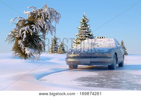 Auto under ice in the winter landscape.,3d render