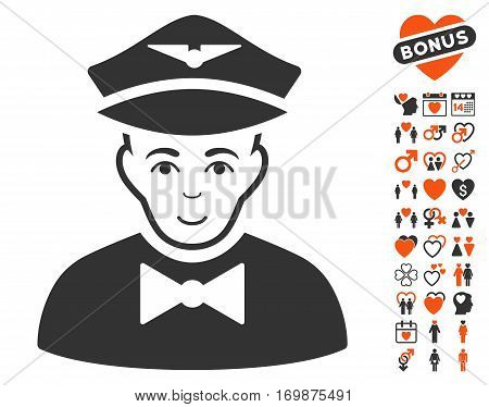 Airline Steward pictograph with bonus passion pictures. Vector illustration style is flat iconic elements for web design app user interfaces.