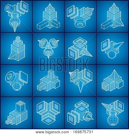 Abstract Three Dimensional Shapes Set, Vector Designs.