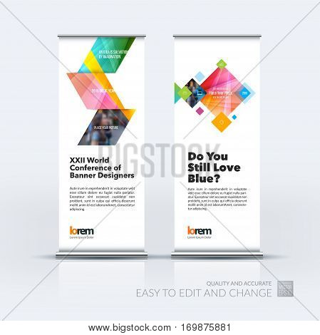 Abstract business vector set of modern roll Up Banner stand design template with yellow arrows, triangles for exhibition, fair, show, exposition, expo, presentation, parade, events.