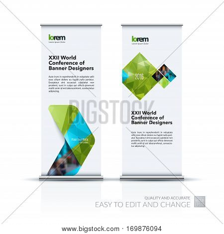 Abstract business vector set of modern roll Up Banner stand design template with green arrows, triangles for exhibition, fair, show, exposition, expo, presentation, parade, events.