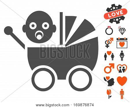Baby Carriage icon with bonus valentine pictograph collection. Vector illustration style is flat iconic elements for web design app user interfaces.