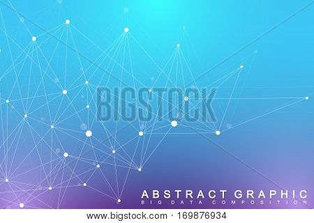 Geometric graphic background molecule and communication. Big data complex with compounds. Lines plexus, minimal array. Digital data visualization. Scientific cybernetic vector illustration poster