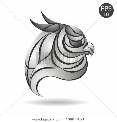 Owl head profile logo. Stock vector for your design