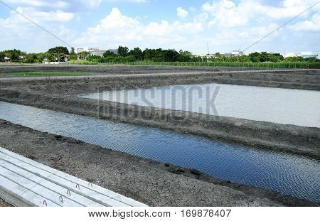 Irrigation canal waterway Water trough in rice field