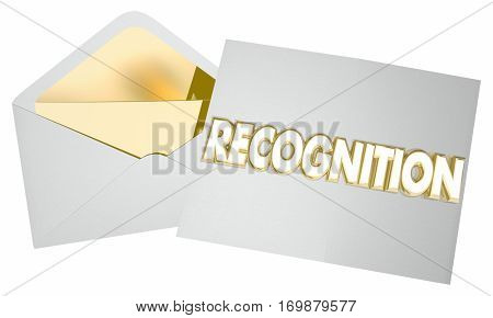 Recognition Check Money Award Payout 3d Illustration