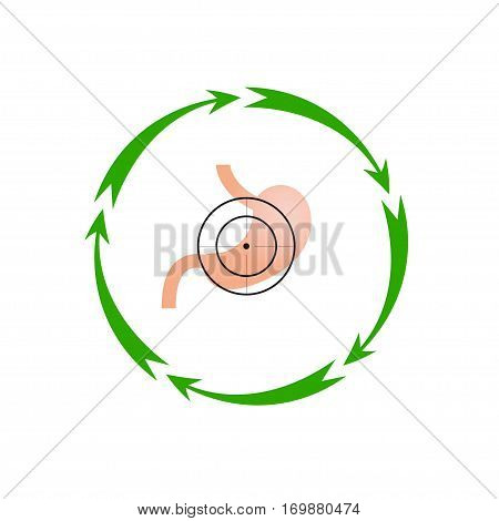 Vector illustration. The emblem logo. Stomach at gunpoint. Five arrows in a circle. Different colors.
