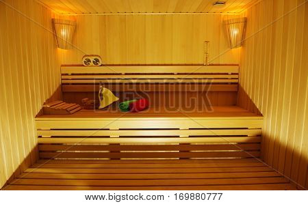 Sauna room with traditional sauna accessories