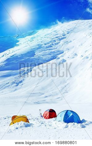 The tent of Everest Base Camp. Climbing and mountaineering sport. Nepal mountains.