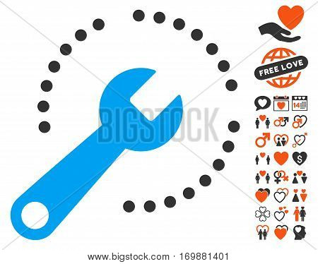 Configure Diagram icon with bonus marriage pictograph collection. Vector illustration style is flat iconic symbols for web design app user interfaces.