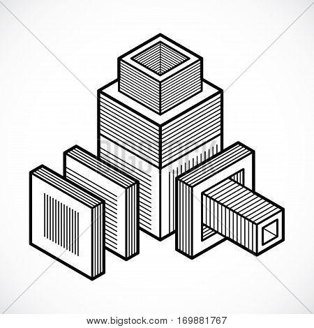 Engineering abstract shape vector monochrome polygonal figure.