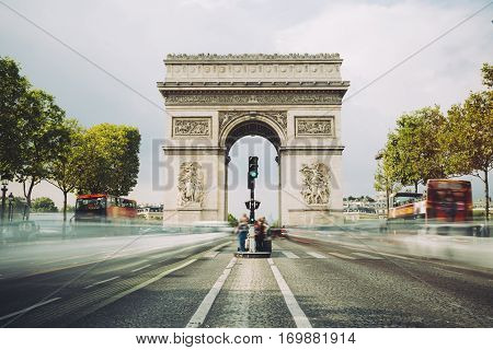 Triumphal Arch. Paris. France. View Place Charles De Gaulle. Famous Touristic Architecture Landmark