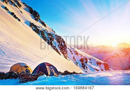 Tents on the glacier in high mountains