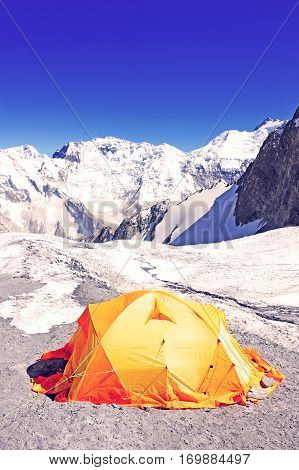 The tent of Everest Base Camp. Expedition orange tent.