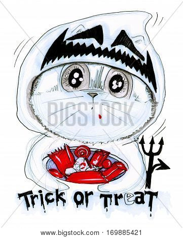 Cat playing Trick or treat in Halloween. His costume is ghost and candy in bowl Cartoon character design pencil sketch and computer paper texture technique.