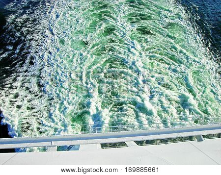 Waves at the stern of a large ship