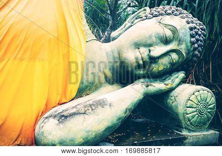 Sleeping Buddha. Temple of Buddha in Buriram Thailand