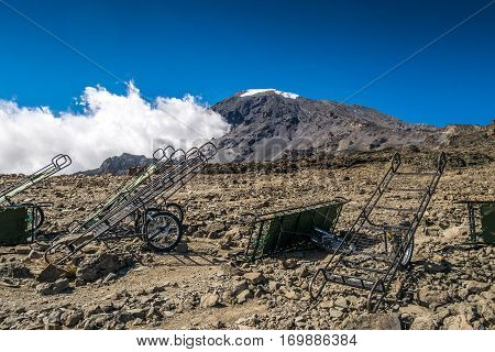 Peak Of Kilimanjaro With Emergency Carts