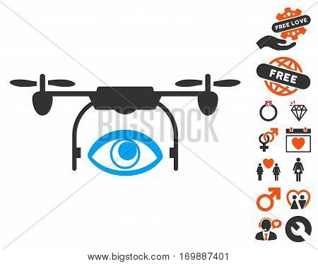 Eye Spy Drone icon with bonus romantic symbols. Vector illustration style is flat iconic symbols for web design app user interfaces.