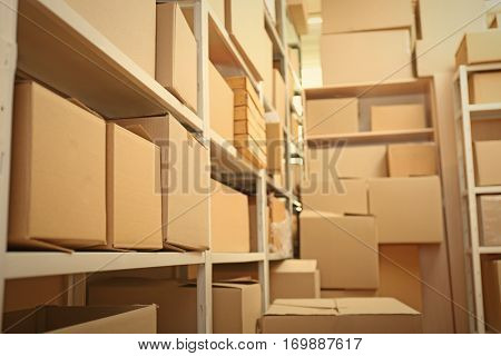 Modern warehouse full of cardboard boxes
