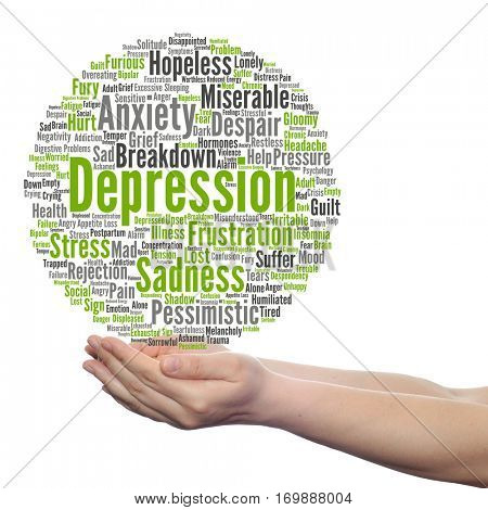 Concept depression or mental emotional disorder abstract word cloud held in hands isolated on background metaphor to anxiety, sadness, negative, sad, problem, despair, unhappy, frustration symptom