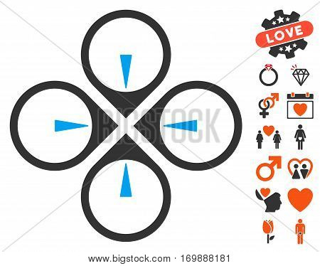 Fly Drone icon with bonus decorative pictures. Vector illustration style is flat iconic symbols for web design app user interfaces.