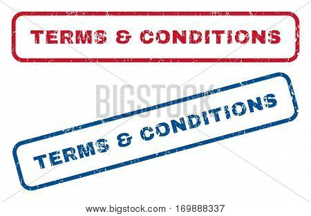 Terms and Conditions text rubber seal stamp watermarks. Vector style is blue and red ink tag inside rounded rectangular shape. Grunge design and dirty texture. Blue and red stickers.