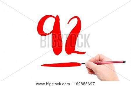The number 92 written by a hand on a white background