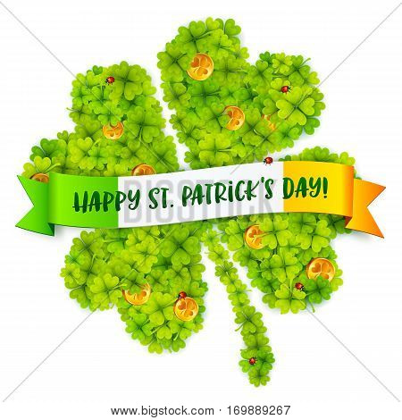 Green vector four-leaf clover shape filled with little clovers with golden coins and Happy St Patrick Day on Irish flag banner
