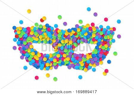 Colorful round confetti vector carnival mask silhouette isolated on white background