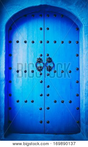 The doors made of wood painted blue Marocco