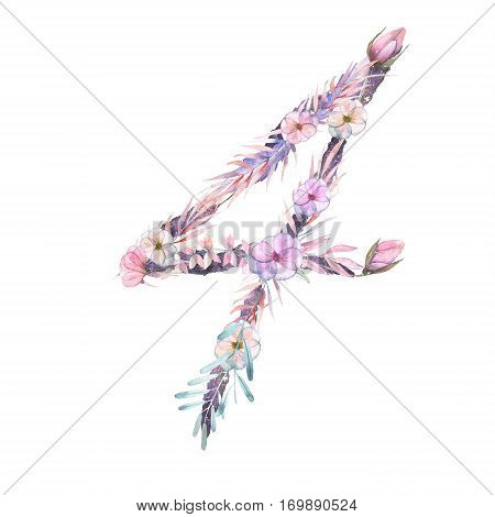 Number ''4'' of watercolor pink and purple flowers, isolated hand drawn on a white background, wedding design, festive and wedding decor and cards