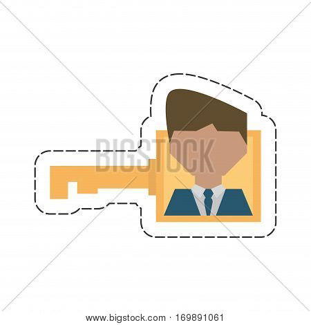 businessman work key related icon, vector illustration design