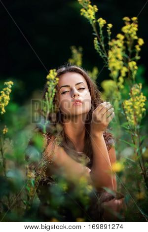 Soft portrait of a young woman sitting with a languid eyes among wildflowers