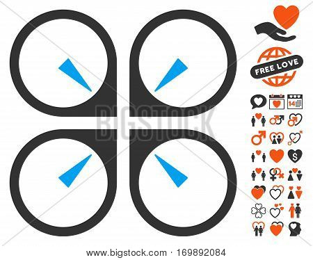 Hover Drone pictograph with bonus decoration design elements. Vector illustration style is flat iconic symbols for web design app user interfaces.