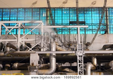 Industrial factory.Heavy industry.Parts of the exterior power stations in winter.