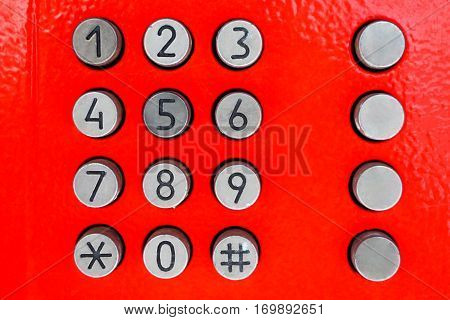 Keyboard old phone.Telephony and communication.The numbers on the buttons of the old push-button phone.