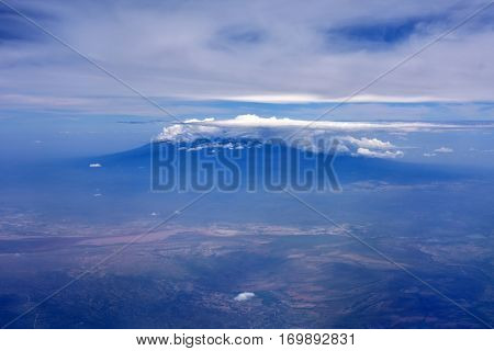 Aerial image of Mount Kilimanjaro, from Kenya