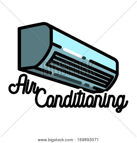 Color vintage air conditioning emblem. Ventilation and conditioning system. Vector illustration, EPS 10